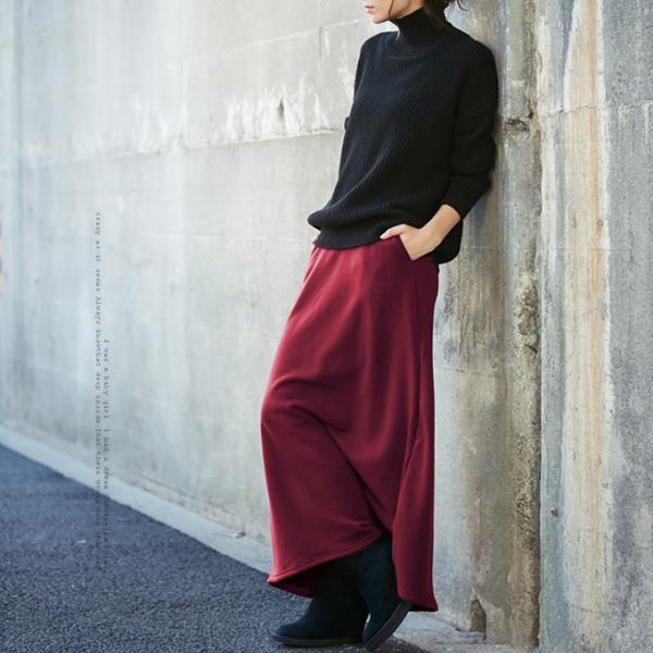 ワイドパンツ 裏起毛 スカート スリットスカンツ ガウチョパンツ ぬくもり、ロング スカート 無地 ワイドパツ  7分丈   新春セール 一部即納|karei|06