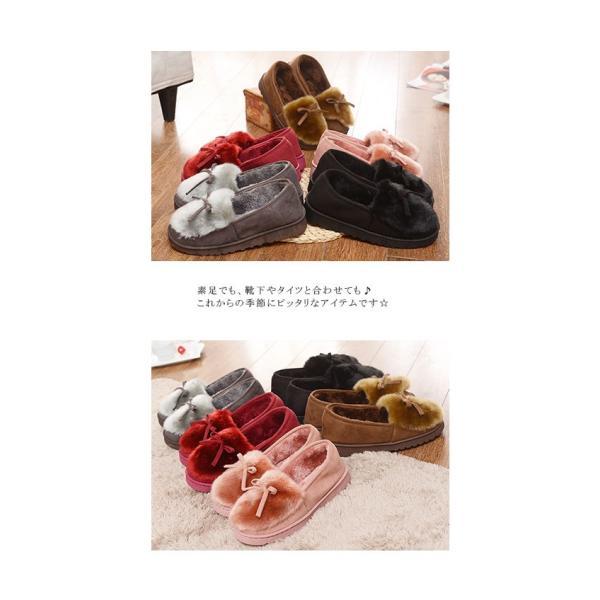 モカシューズ スエードタッチ ファー リボン 包み込み 滑りにくい 3センチヒール 5色 暖かい レディース 新春セール|karei|03
