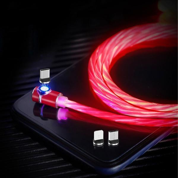 光る マグネット式 充電ケーブル 1m iPhone Android TypeC アイフォン  L字型 マイクロusb タイプC 車載 USB充電器 マルチ iQOS3 Multii ニンテンドー 一部即納|karei|05