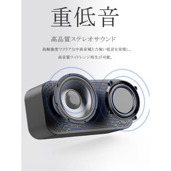 ワイヤレス スピーカー bluetooth 4.1 マイク搭載 ブルートゥース ハンズフリー ウトドア 目覚まし時計 重低音 ラジオ対応 スマホスタンド 電話受ける|karei|03