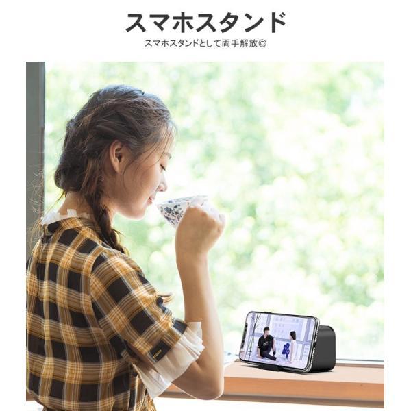 ワイヤレス スピーカー bluetooth 4.1 マイク搭載 ブルートゥース ハンズフリー ウトドア 目覚まし時計 重低音 ラジオ対応 スマホスタンド 電話受ける karei 05
