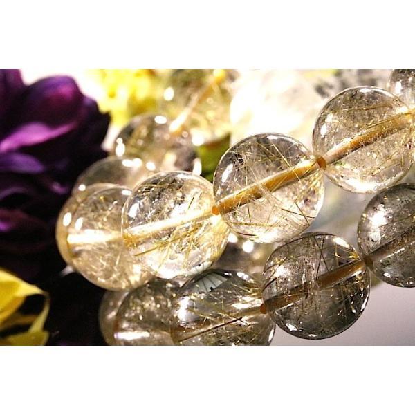 【送料無料】《珠径13mm 内径16.5cm ゴールドルチルクォーツ 金針水晶パワーストーン天然石ブレスレット code3089|karen-ya