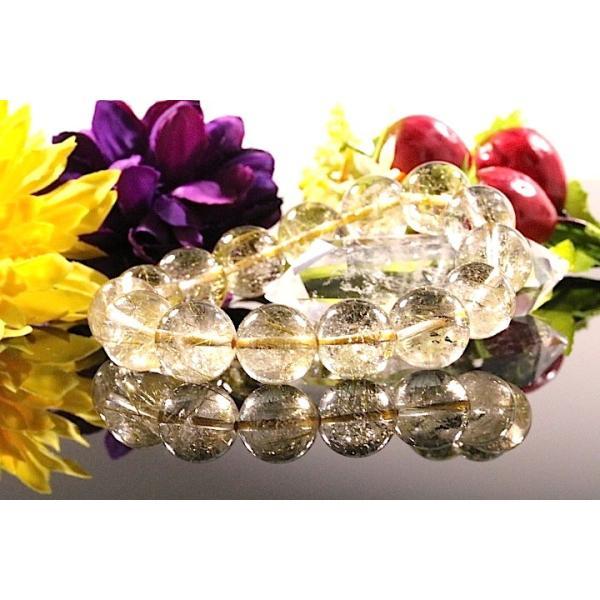 【送料無料】《珠径13mm 内径16.5cm ゴールドルチルクォーツ 金針水晶パワーストーン天然石ブレスレット code3089|karen-ya|02