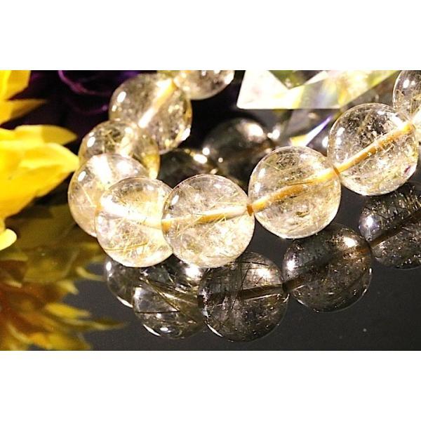 【送料無料】《珠径13mm 内径16.5cm ゴールドルチルクォーツ 金針水晶パワーストーン天然石ブレスレット code3089|karen-ya|04