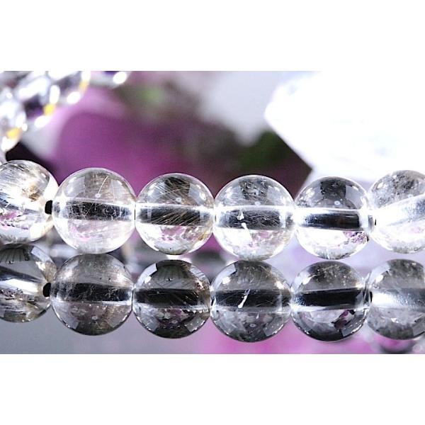 【送料無料】《珠径7mm 内径15cm 》プラチナルチルクォーツ 微細針 白金水晶 パワーストーン天然石ブレスレット code3132|karen-ya|04