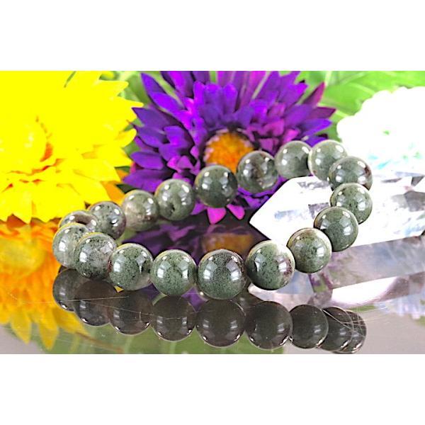 【送料無料】《 珠径11mm 内径16.5cm》 モスグリーンガーデンクォーツ 庭園水晶 ブレスレット パワーストーン 天然石ブレスレット code4027|karen-ya|02
