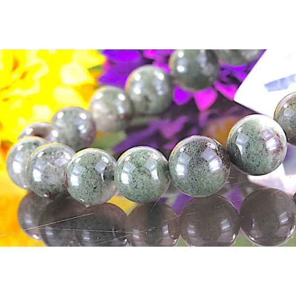 【送料無料】《 珠径11mm 内径16.5cm》 モスグリーンガーデンクォーツ 庭園水晶 ブレスレット パワーストーン 天然石ブレスレット code4027|karen-ya|03