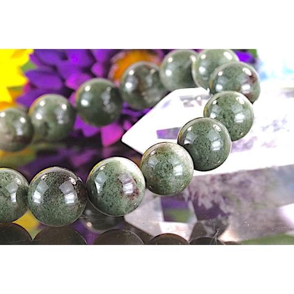 【送料無料】《 珠径11mm 内径16.5cm》 モスグリーンガーデンクォーツ 庭園水晶 ブレスレット パワーストーン 天然石ブレスレット code4027|karen-ya|04