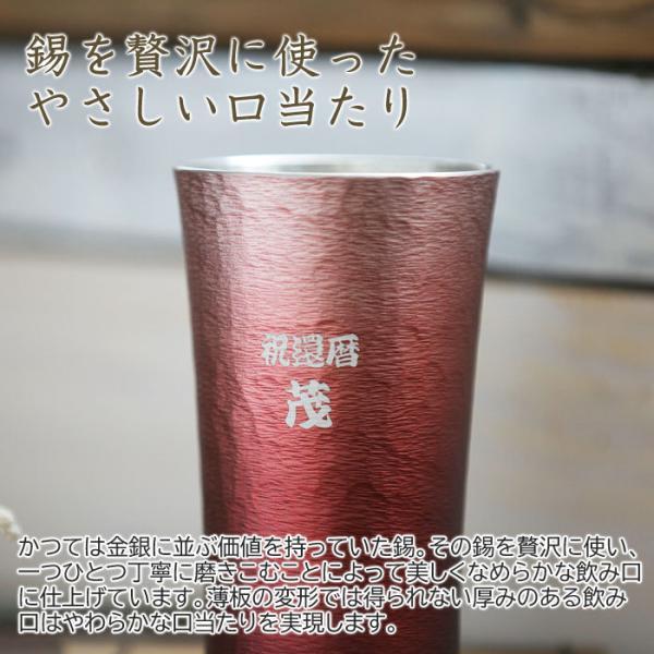 タンブラー カップ 名入れ 送料無料 プレゼント ギフト 錫(すず)製 名入れタンブラー 赤 karin-e 06