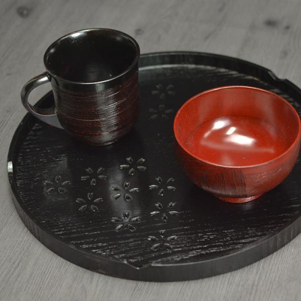 木製 お盆 トレー 桜柄 丸盆 黒 約30cm