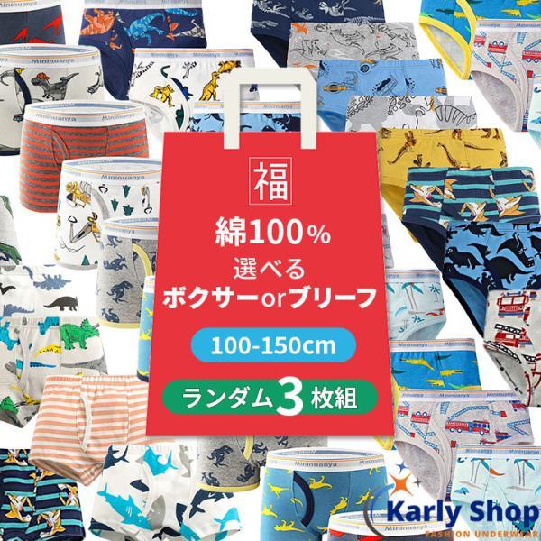 3枚組 選べるボクサーパンツブリーフパンツ男児福袋100cm-160cmb001(pc5)