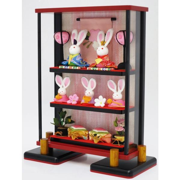 うさひな うさひな5人セット 薄型ガラスケース入り うさぎおひなさま5人飾り UH001P|kasaisan|02