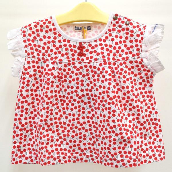 セール ラグマート レース袖総柄Tシャツ 100-130cm レッド