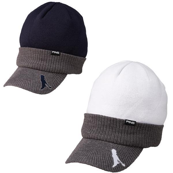 PINGピンゴルフ帽子つば付きニットキャップ