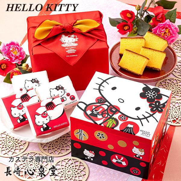 ハローキティ ( プレゼント ギフト お誕生日 キティちゃん 誕生日プレゼント プチギフト 女の子 かわいい ) カステラ 個包装 8個 重箱 2段 風呂敷包み TK80