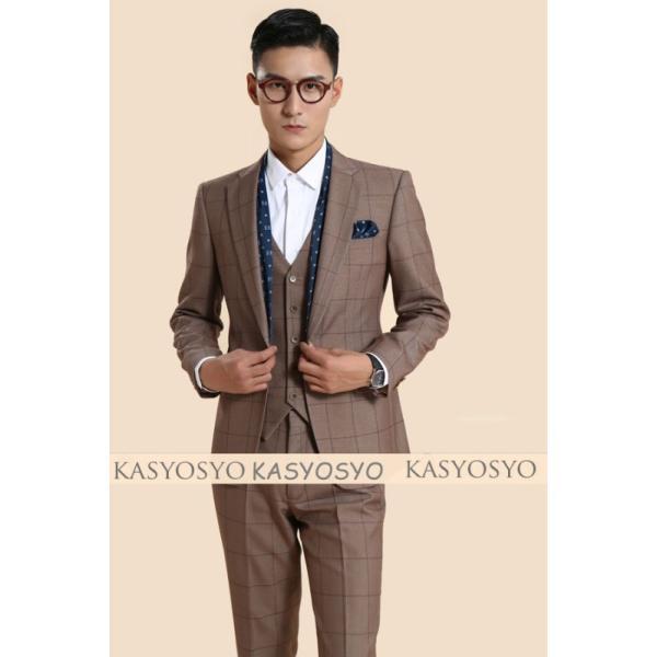 2e42e3b91ea7f 茶色タキシードジャケット&パンツ&ポケットチーフ&スカーフ&ベスト 5点セット M22972015