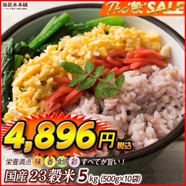 米 雑穀 雑穀米 国産 栄養満点23穀米 5kg(500g x10袋) 送料無料 国内産 もち麦 黒米 新時代幕開け|katochanhonpo
