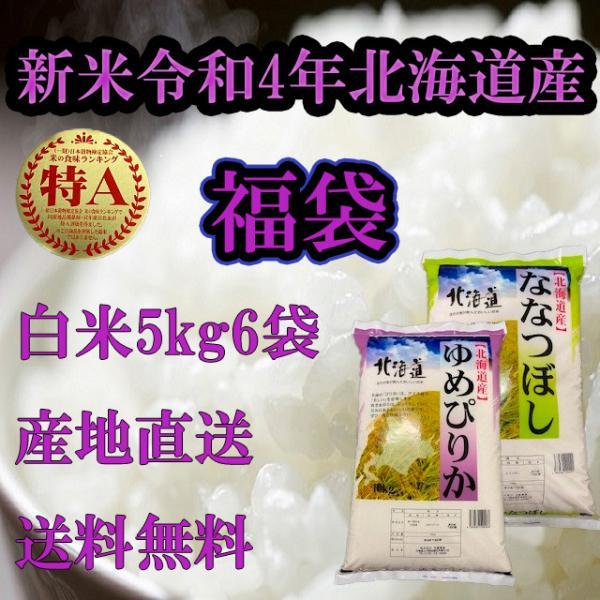福袋30kg 令和3年度産北海道米 送料無料5kg×6袋  白米ゆめぴりか5kg5袋、白米ななつぼし5kg1袋