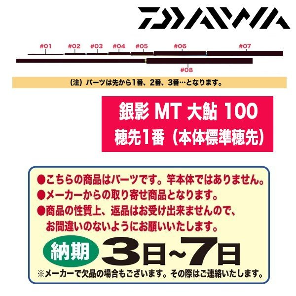ダイワ 鮎ロッドパーツ 107983 銀影 MT 大鮎 100 穂先1番(本体標準穂先)