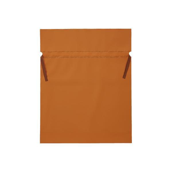 フロンティア 梨地ポリ巾着袋(底マチ付) オレンジ LL 20枚