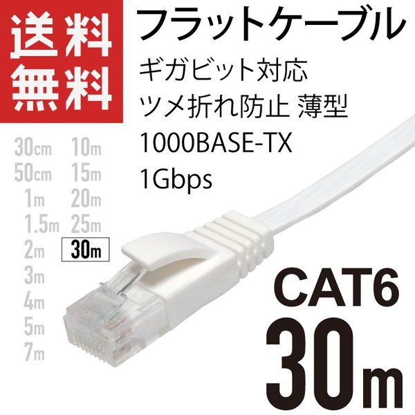 LANケーブル フラット 30m ギガ対応 CAT6 ツメ折れ防止 薄型 フラットケーブル ストレート ホワイト|kaumo