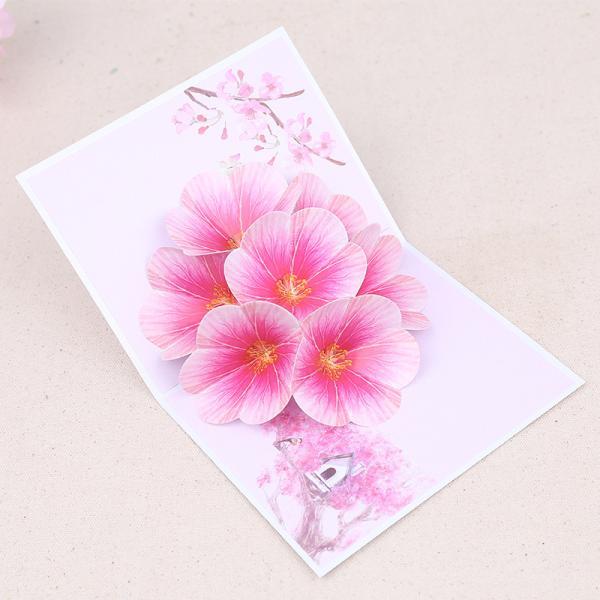 グリーティングカード ポップアップカード メッセージカード 桃の花 花 自然 飛び出す 立体 お祝い 記念日 誕生日 雑貨 小物