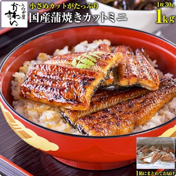 (訳あり わけあり)国産うなぎの蒲焼きカットミニ 1kgセット(うなぎ 鰻  ウナギ)|kawaguchisuisan