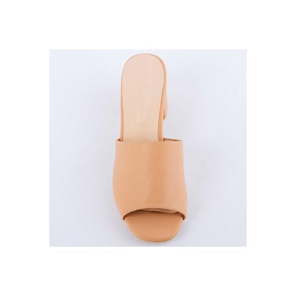 サンダル レディース ミュール チャンキーヒール 6cm 春 夏 オープントゥ オレンジ ピンク 白 黒 安定感 疲れにくい 歩きやすい 美脚 sh18418