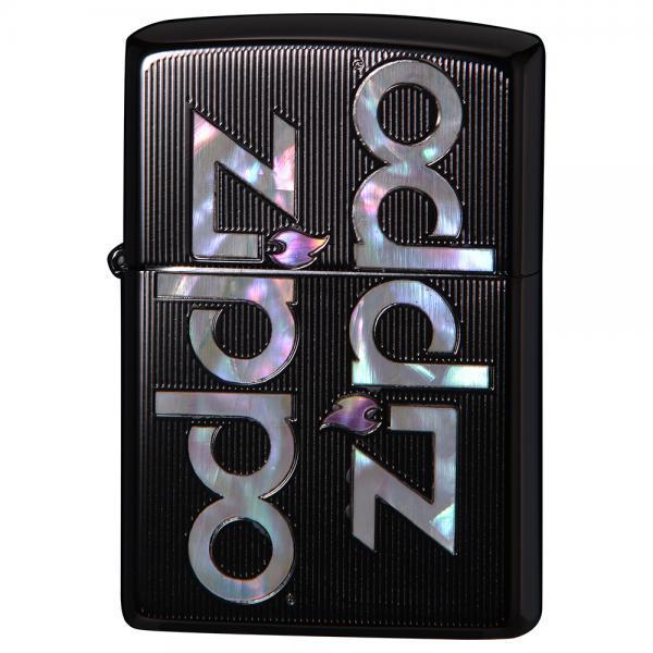 ジッポー オイルライター SHELL INLAY ZIPPO LOGO/ブラックチタン 両面エッチング 貝貼り 2TIBK-LOGO&ギフトボックスセット(オイル+フリント+BOX)