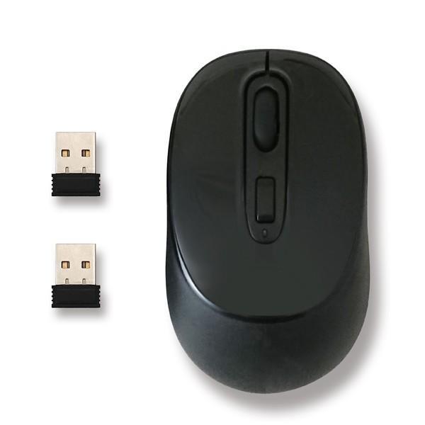 ワイヤレスマウス レシーバー 2個タイプ 無線 2.4GHz LED HDM-7146BK ハイディスク/0175/送料無料|kawanetjigyoubu