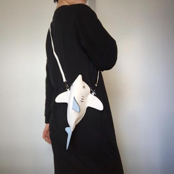 kawauso 立体 鮫 ジョーズ レディースバッグ ショルダーバッグ(黒・白・紺)|kawauso|08