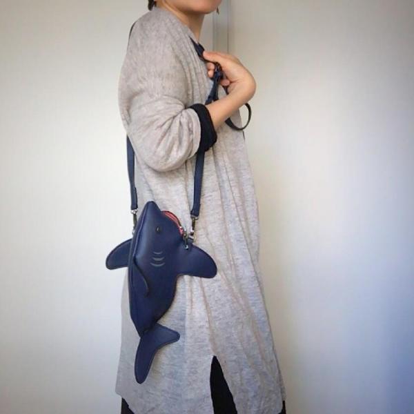 kawauso 立体 鮫 ジョーズ レディースバッグ ショルダーバッグ(黒・白・紺)|kawauso|09