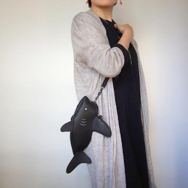 kawauso 立体 鮫 ジョーズ レディースバッグ ショルダーバッグ(黒・白・紺)|kawauso|07
