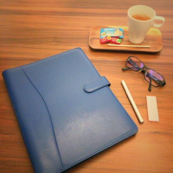 kawauso 合皮レザー大きめサイズ A4 ルーズリーフ 手帳型 4穴 ビジネス ペン挿し 収納(紫・青・黒・茶色) kawauso 02