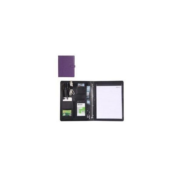kawauso 合皮レザー大きめサイズ A4 ルーズリーフ 手帳型 4穴 ビジネス ペン挿し 収納(紫・青・黒・茶色) kawauso 12