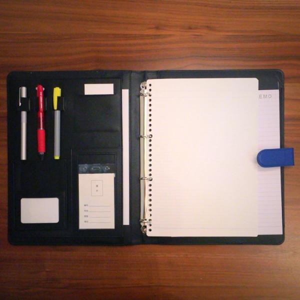 kawauso 合皮レザー大きめサイズ A4 ルーズリーフ 手帳型 4穴 ビジネス ペン挿し 収納(紫・青・黒・茶色) kawauso 07