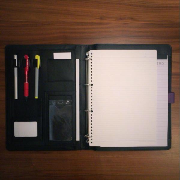 kawauso 合皮レザー大きめサイズ A4 ルーズリーフ 手帳型 4穴 ビジネス ペン挿し 収納(紫・青・黒・茶色) kawauso 08