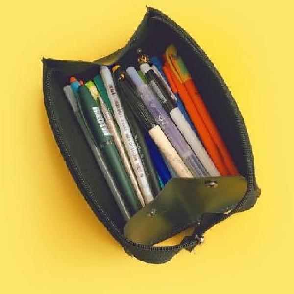 kawauso 大容量 形が変わる 3way ペンケース 筆箱 フェルト レザー 無地 ビジネス 仕事 薄型 小物いれ|kawauso|05