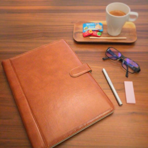 kawauso 手帳型 バインダー A4 PUレザー 多機能 iphone スマホ アンドロイド 収納付 メモ(黒・茶色・ピンク)|kawauso|02