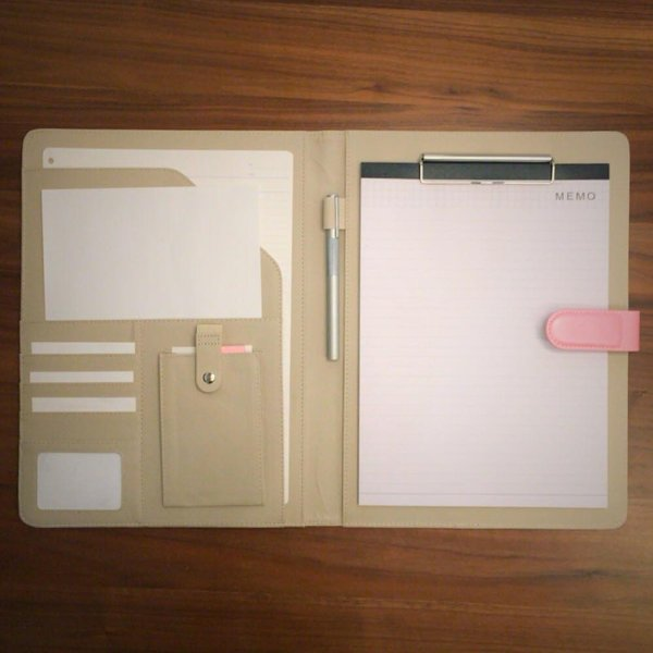 kawauso 手帳型 バインダー A4 PUレザー 多機能 iphone スマホ アンドロイド 収納付 メモ(黒・茶色・ピンク)|kawauso|12