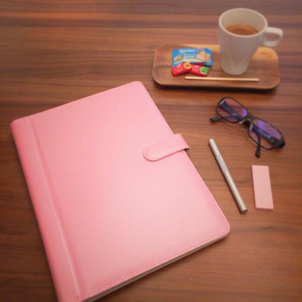 kawauso 手帳型 バインダー A4 PUレザー 多機能 iphone スマホ アンドロイド 収納付 メモ(黒・茶色・ピンク)|kawauso|04