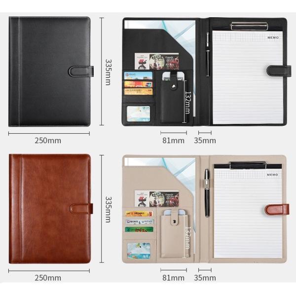 kawauso 手帳型 バインダー A4 PUレザー 多機能 iphone スマホ アンドロイド 収納付 メモ(黒・茶色・ピンク)|kawauso|09