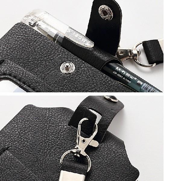 ID カードホルダーA7 ネックストラップ メモ帳  社員証 パスケース TODO(黒・茶色・赤) kawauso 04