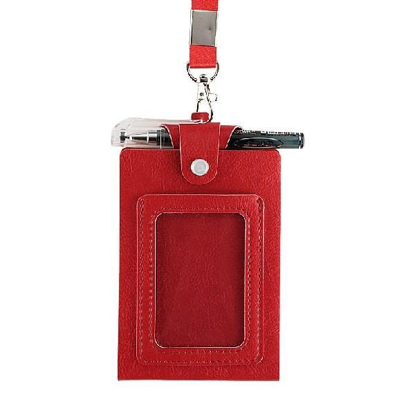 ID カードホルダーA7 ネックストラップ メモ帳  社員証 パスケース TODO(黒・茶色・赤) kawauso 08