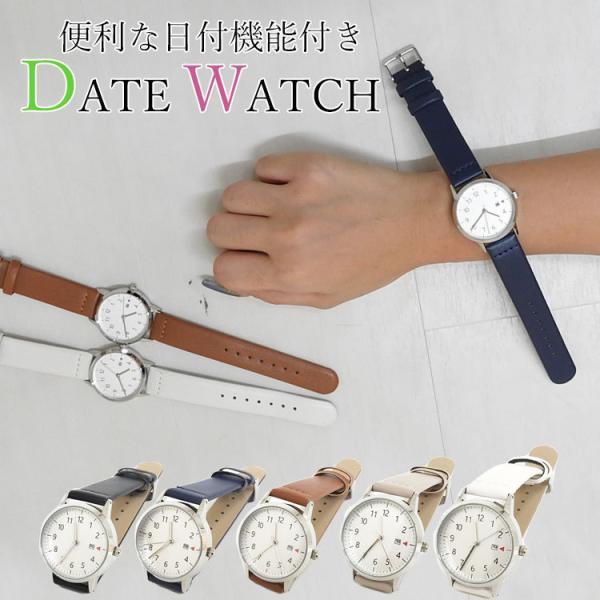 腕時計レディースシンプルアナログ日付カレンダー見やすい革ベルト大人女性女の子仕事通勤ウォッチシルバーフレーム10代20代30代4