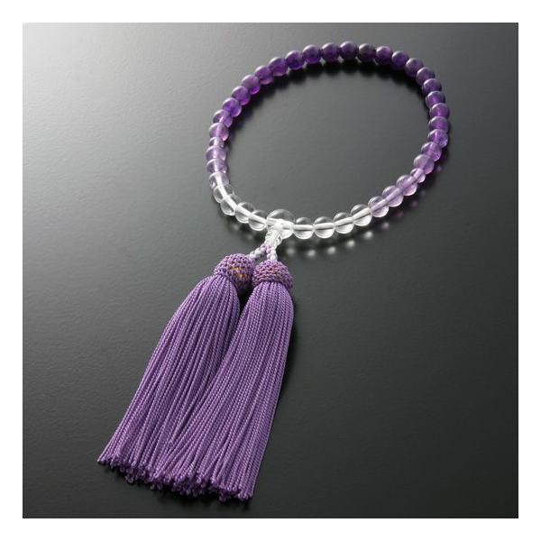 数珠 女性用 グラデーション 紫水晶 念珠袋付き W-063 kb-hayashi 03