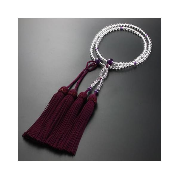 数珠 女性用 浄土真宗 二連 八寸 本水晶・紫水晶仕立て 本式数珠 念珠袋付き SW-064|kb-hayashi|03