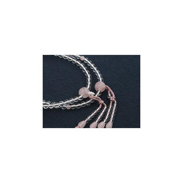 数珠 女性用 真言宗 二連 尺0 水晶・紅水晶 ローズクォーツ 入り 本式数珠 念珠袋付き SW-031|kb-hayashi|02