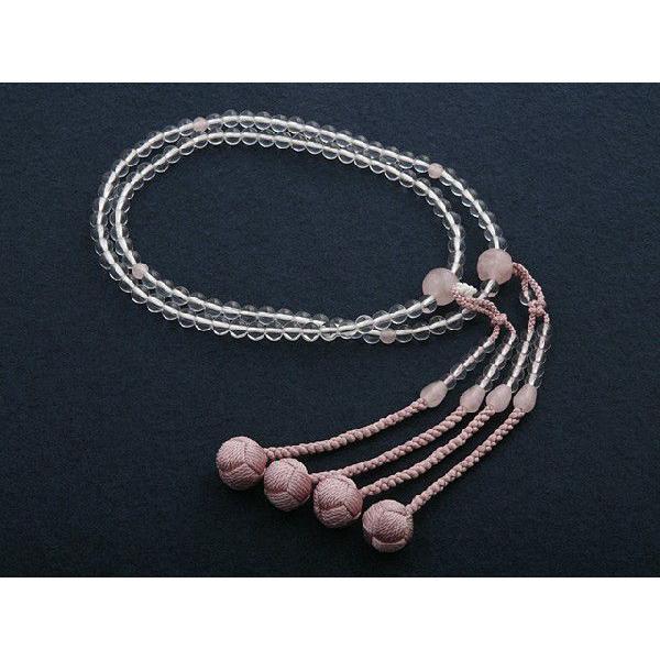 数珠 女性用 真言宗 二連 尺0 水晶・紅水晶 ローズクォーツ 入り 本式数珠 念珠袋付き SW-031|kb-hayashi|03