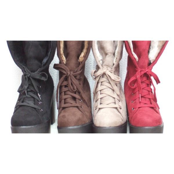 送料無料 ☆在庫処分☆2WAY ファーレースアップ 厚底ストーム ショートブーツ 靴 レディース